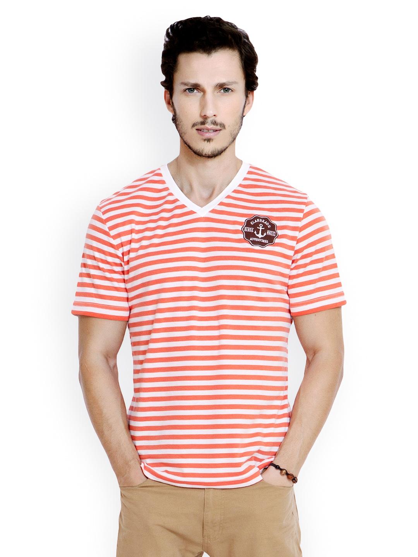 Myntra elaborado men orange white striped t shirt 560463 for Best striped t shirt