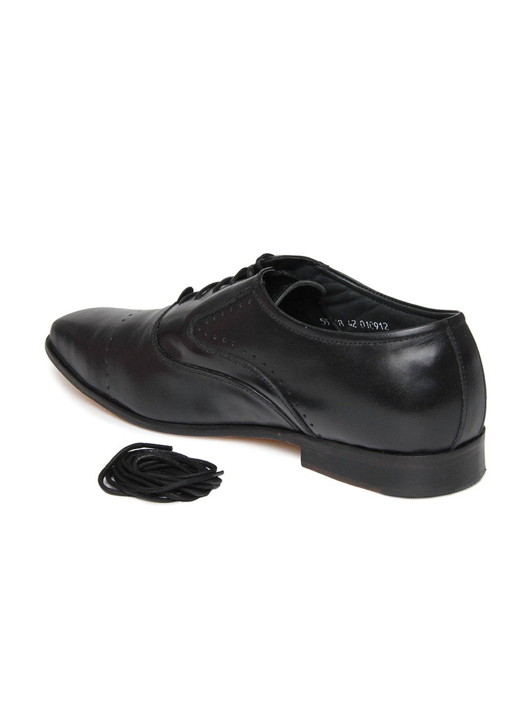 myntra engross black leather formal shoes 287693 buy