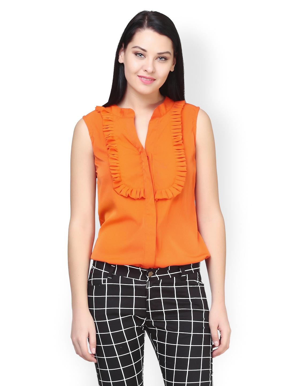 Myntra faballey women orange shirt 559770 buy myntra for Shirts online shopping lowest price