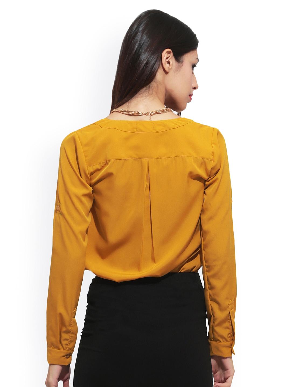 Myntra Faballey Women Mustard Yellow Shirt 502695 Buy