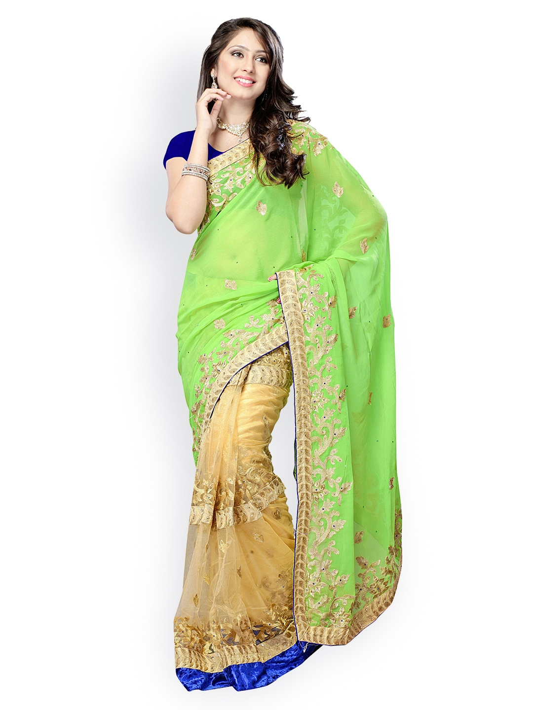 Fabdeal Green amp; Cream Coloured Embroidered Chiffon amp; Net Half amp; Half Fashion Saree available at Myntra for Rs.4639