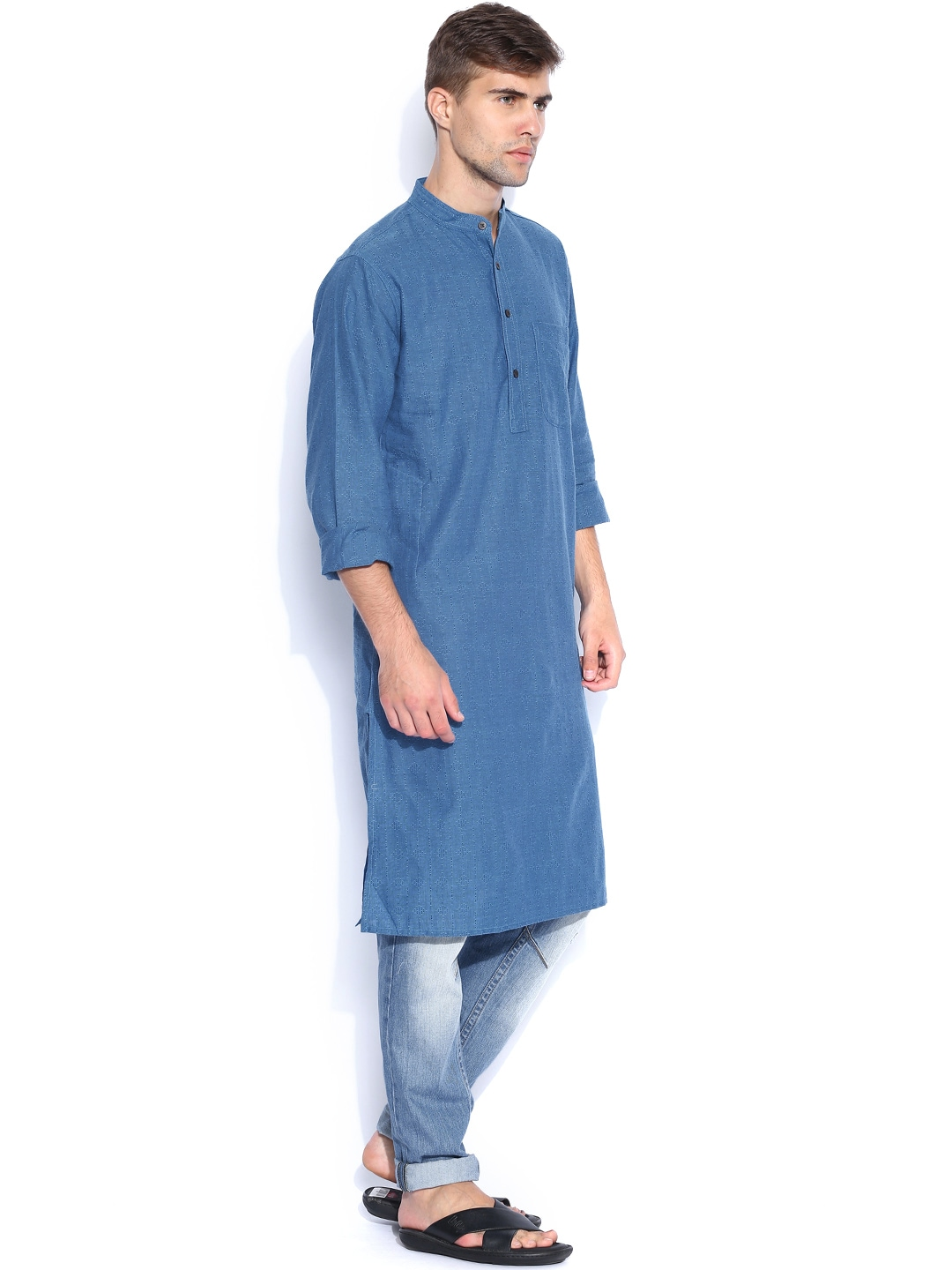 Myntra Fabindia Men Blue Kurta 776412 Buy Kurtas At