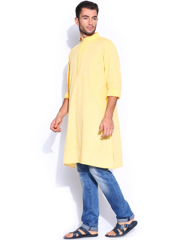 Myntra fabindia men yellow hand embroidered kurta