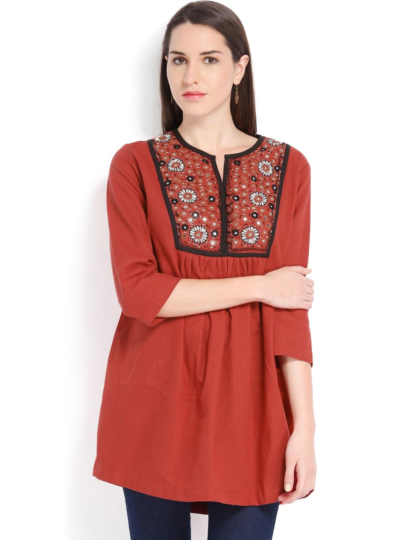 Myntra fabindia women red hand embroidered kurta