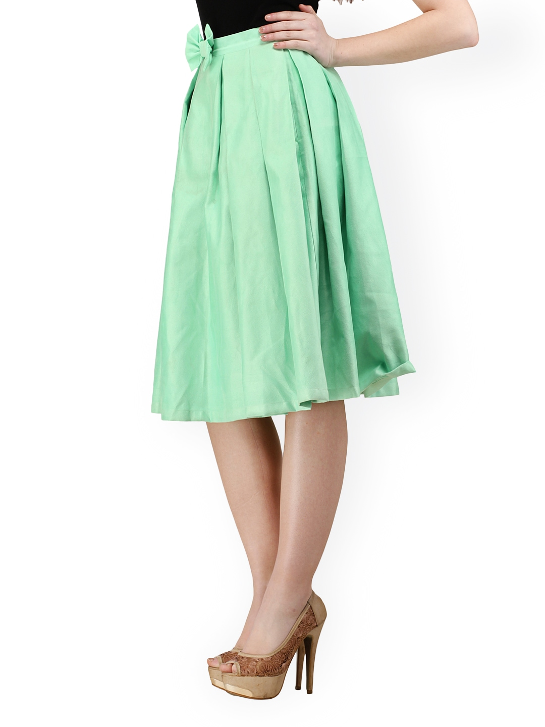 Green wool-blend A-line skirt from P.A.R.O.S.H..