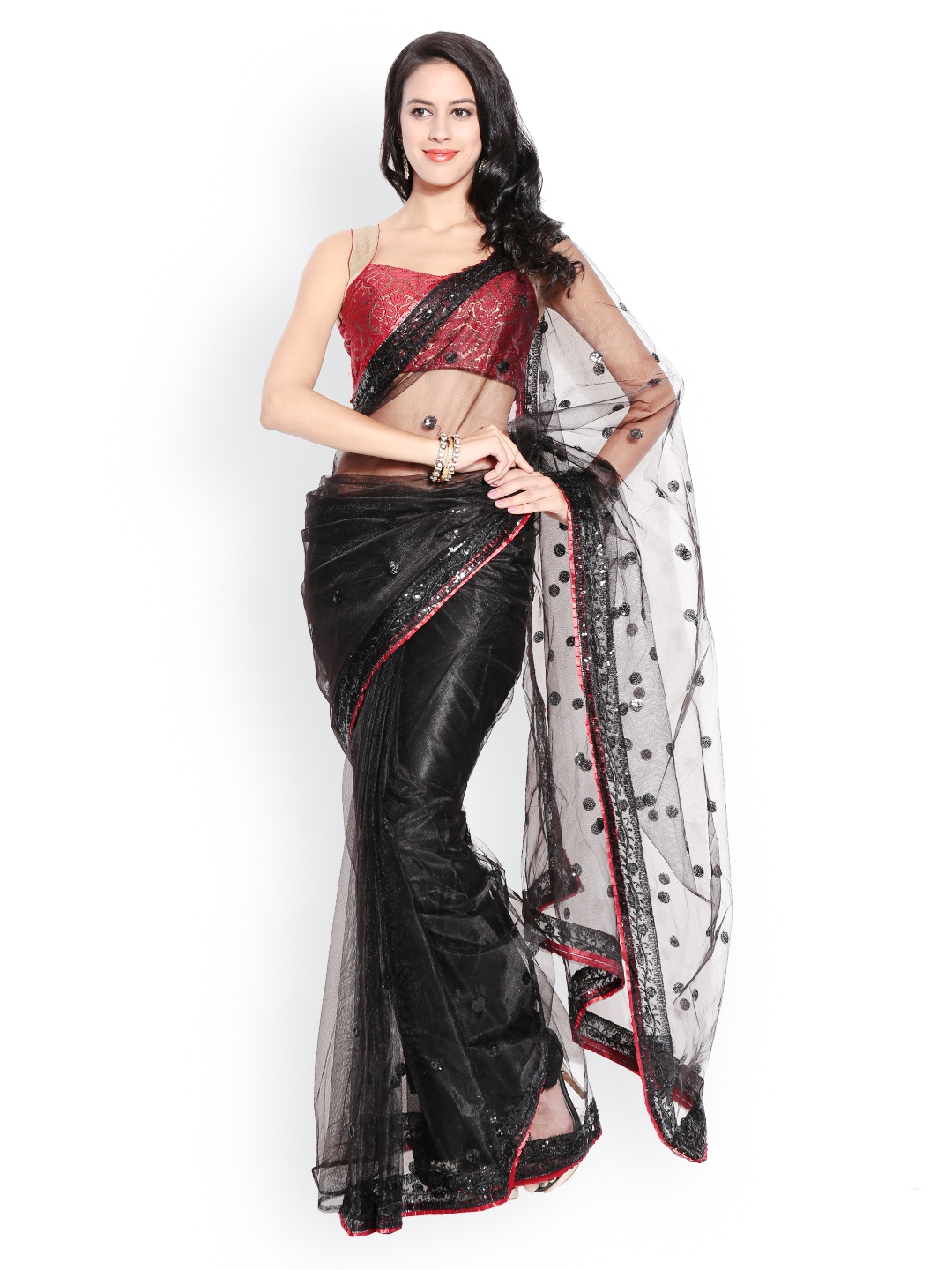 Myntra florence black embroidered net fashion saree