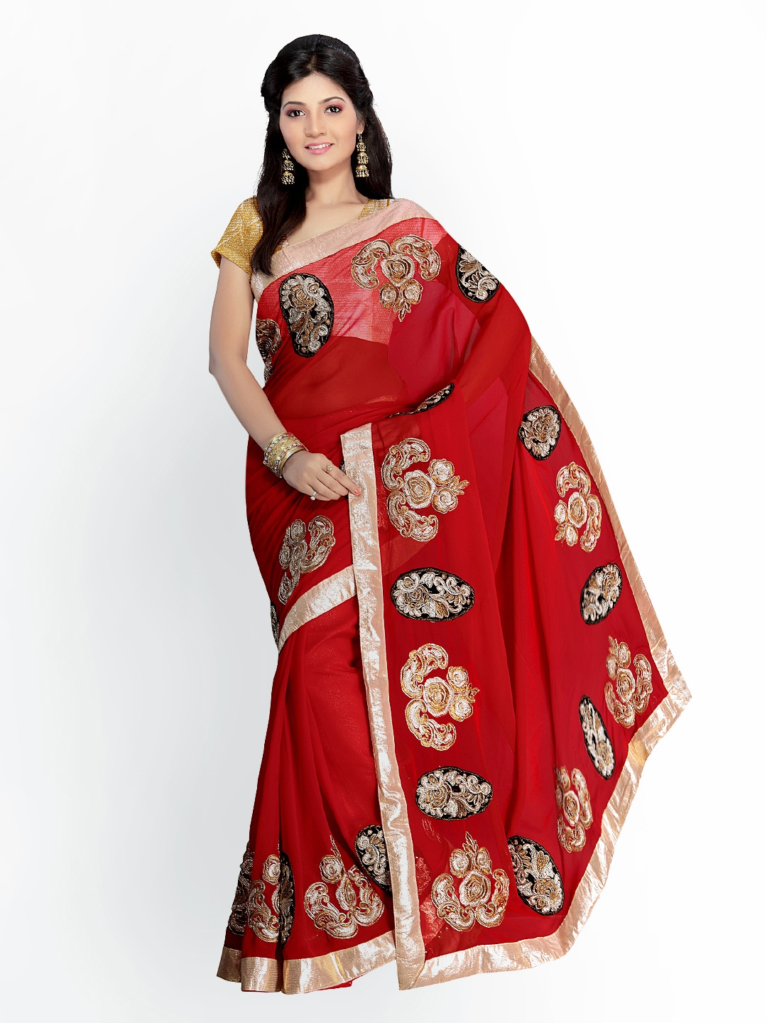 Myntra florence red embroidered chiffon fashion saree