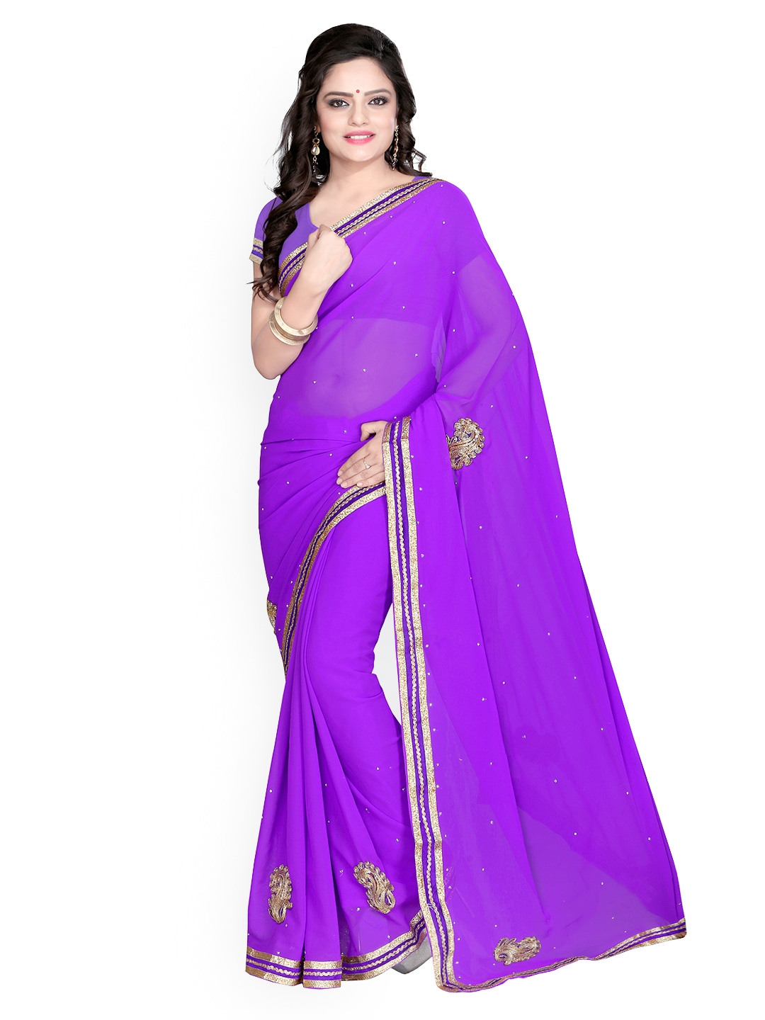 Myntra florence blue embroidered chiffon fashion saree
