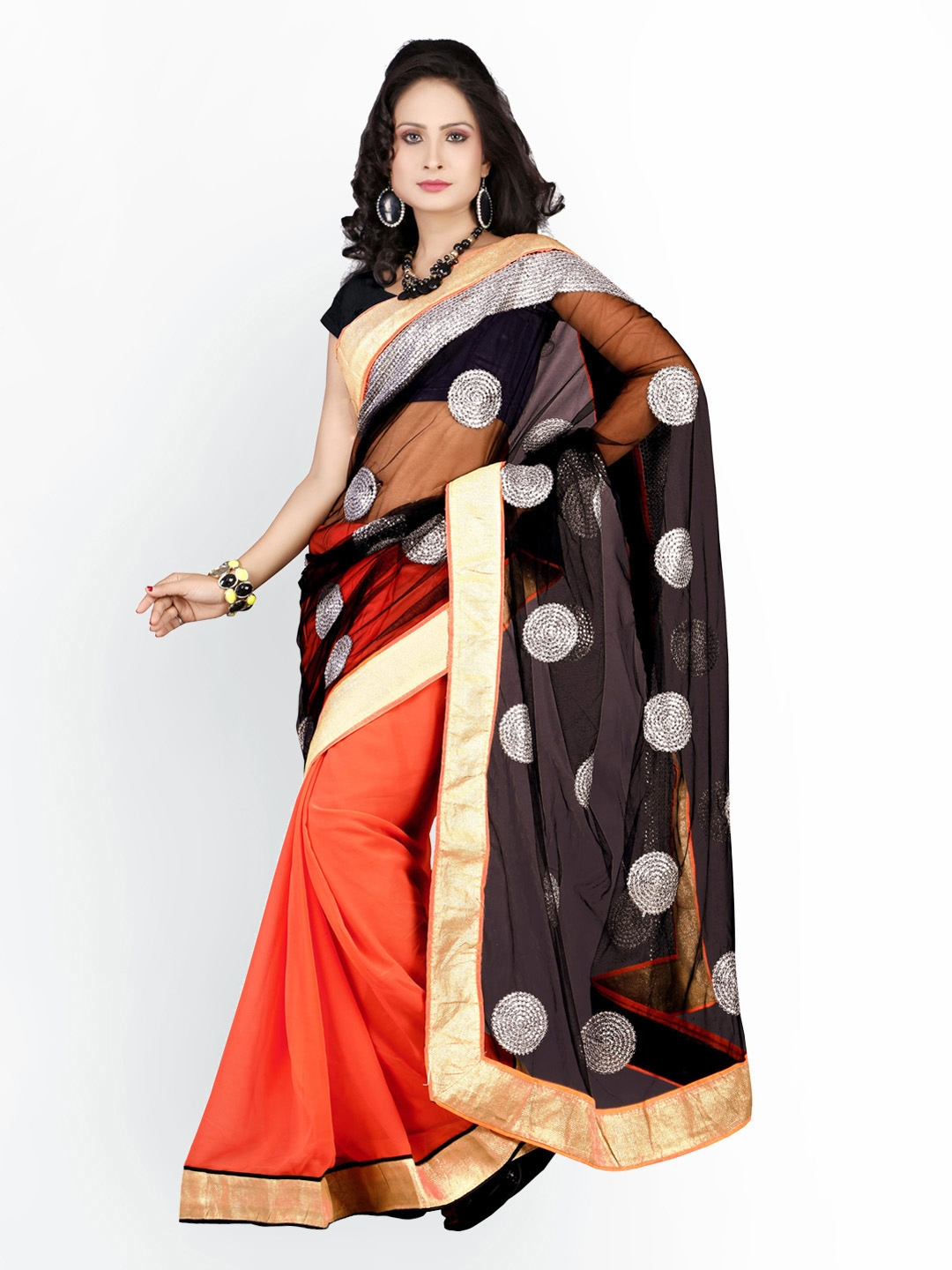 Myntra florence black orange chiffon fashion saree