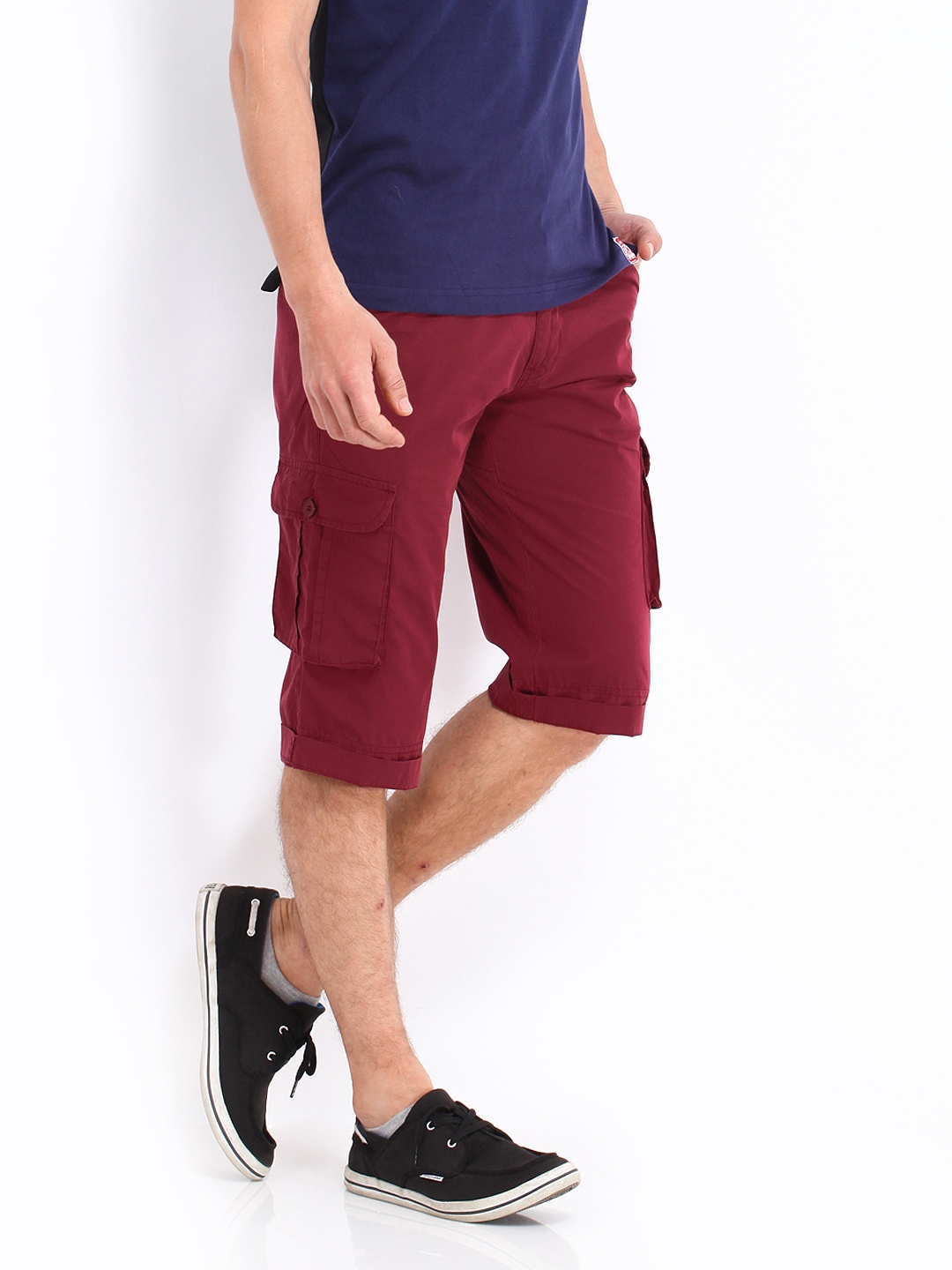 Buy Fort Collins Men Maroon Cargo Shorts 1334802 for men online in ...