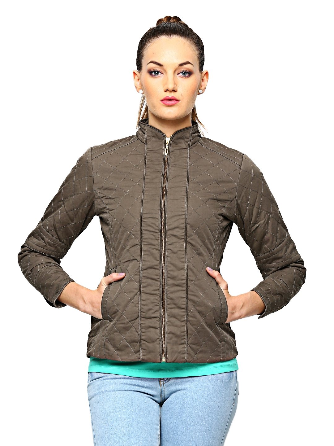 Myntra Fort Collins Women Olive Green Jacket 479297 | Buy Myntra