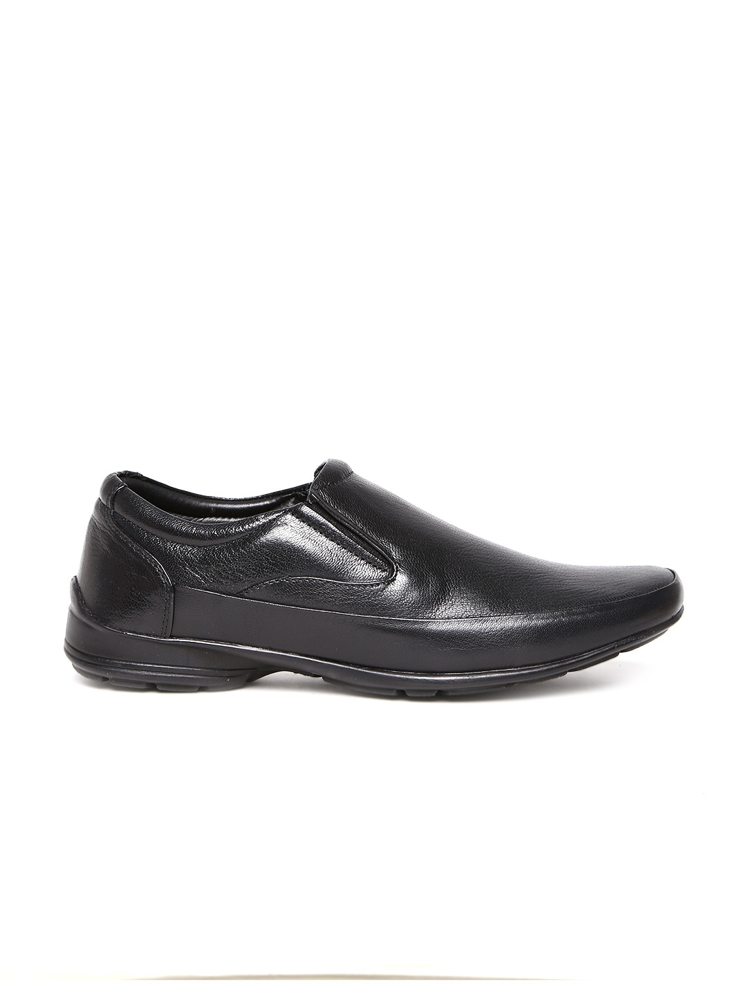 myntra franco black leather semi formal shoes