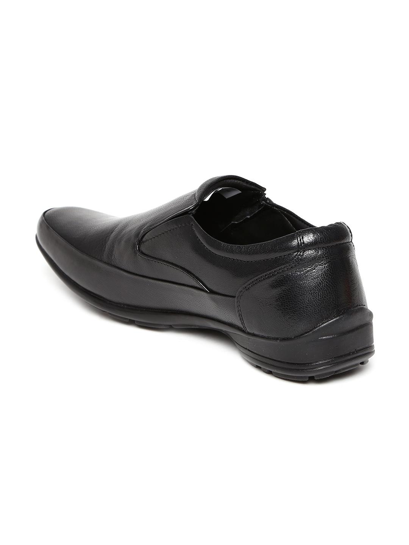 myntra franco black leather semi formal shoes