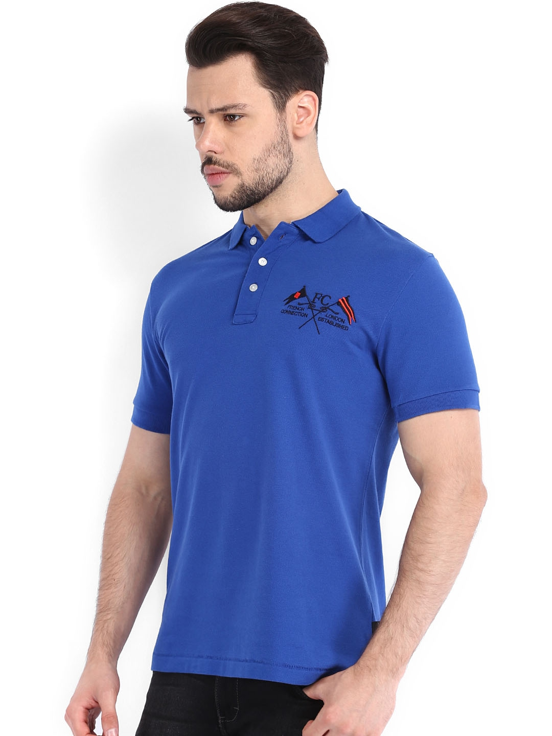 Myntra french connection men blue polo t shirt 568363 for French blue t shirt