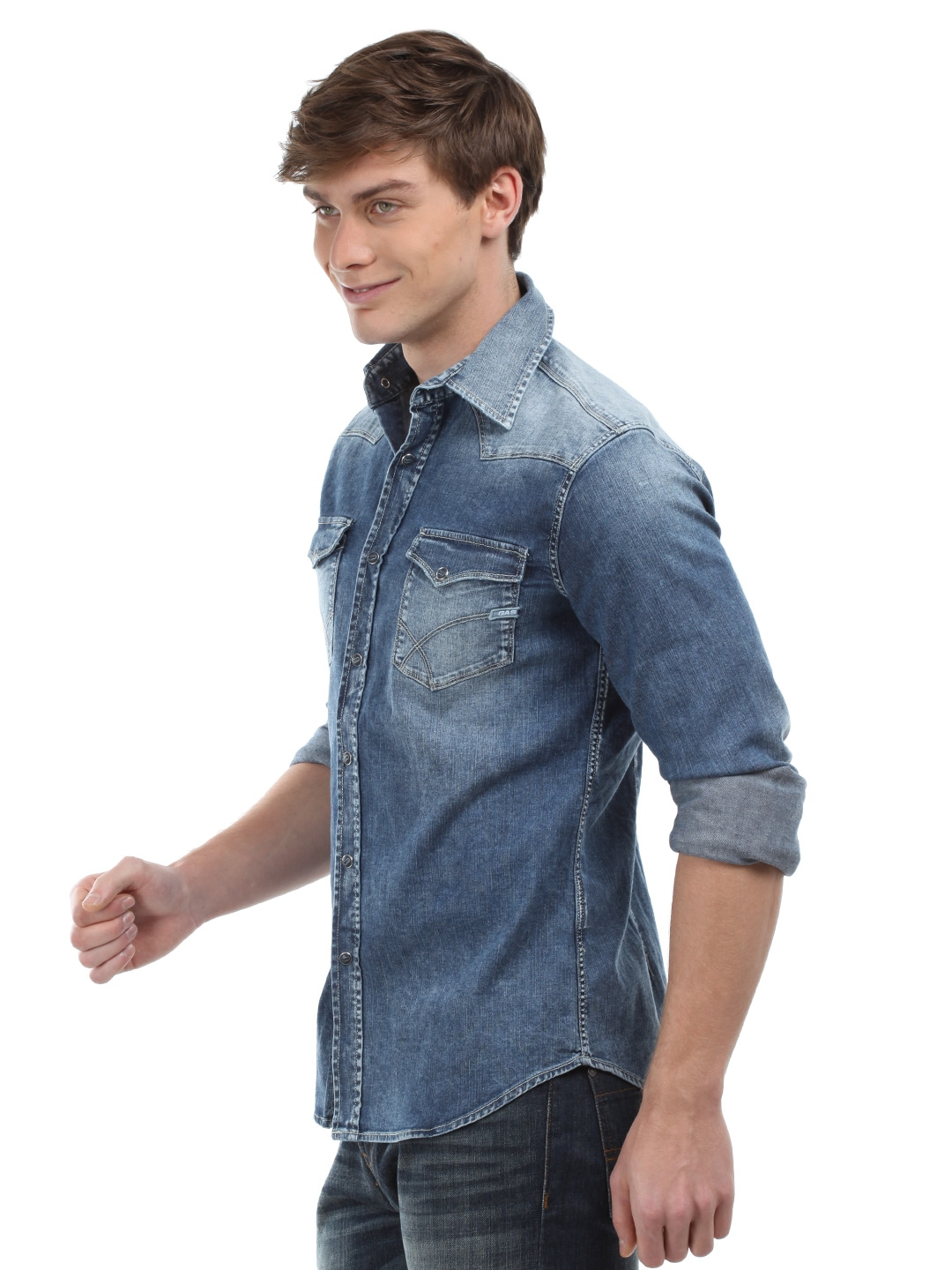 These GAS shirts can be coupled with simple denim skinnies and a chunky metal Necklace for an edgy yet casual weekend-outing look. The party scene just went pop with the black men's GAS shirts with long sleeves bearing roll-up feature, and spread collar - these Pieces can be coupled with washed denims, suede Shoes, and gel-styled Hair.