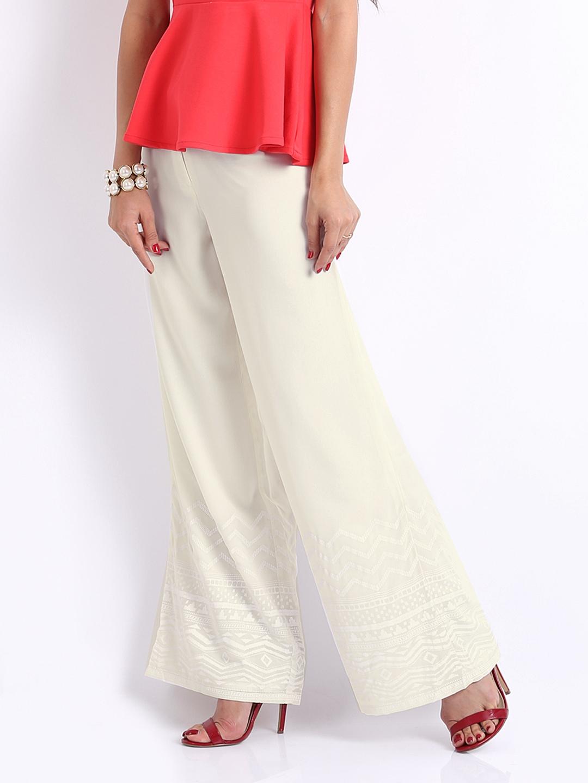 Buy Global Desi Women OffWhite Palazzo Trousers 1295040 for women ...