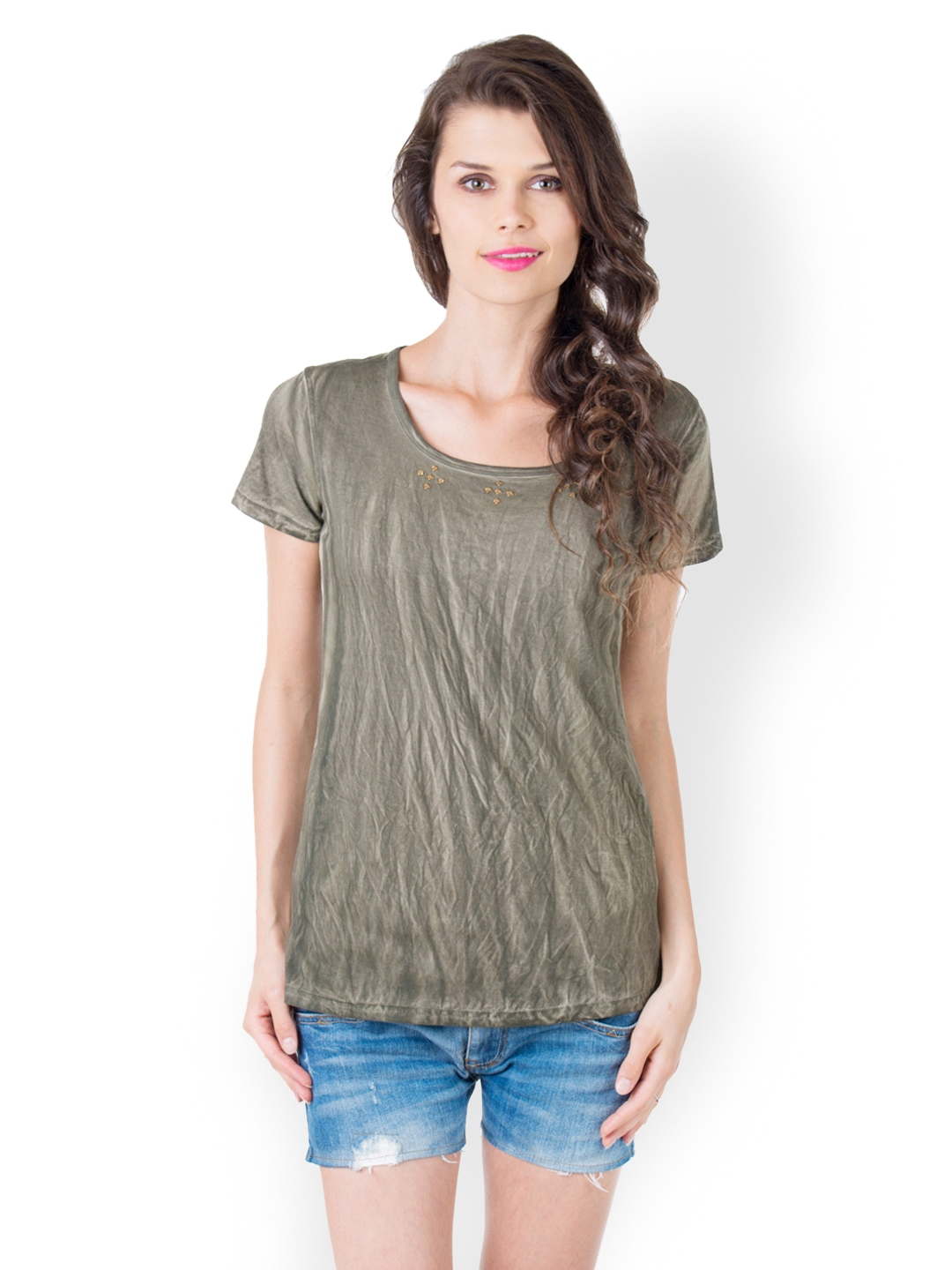 Myntra Gypsy Soul Women Olive Green T Shirt 486829 Buy