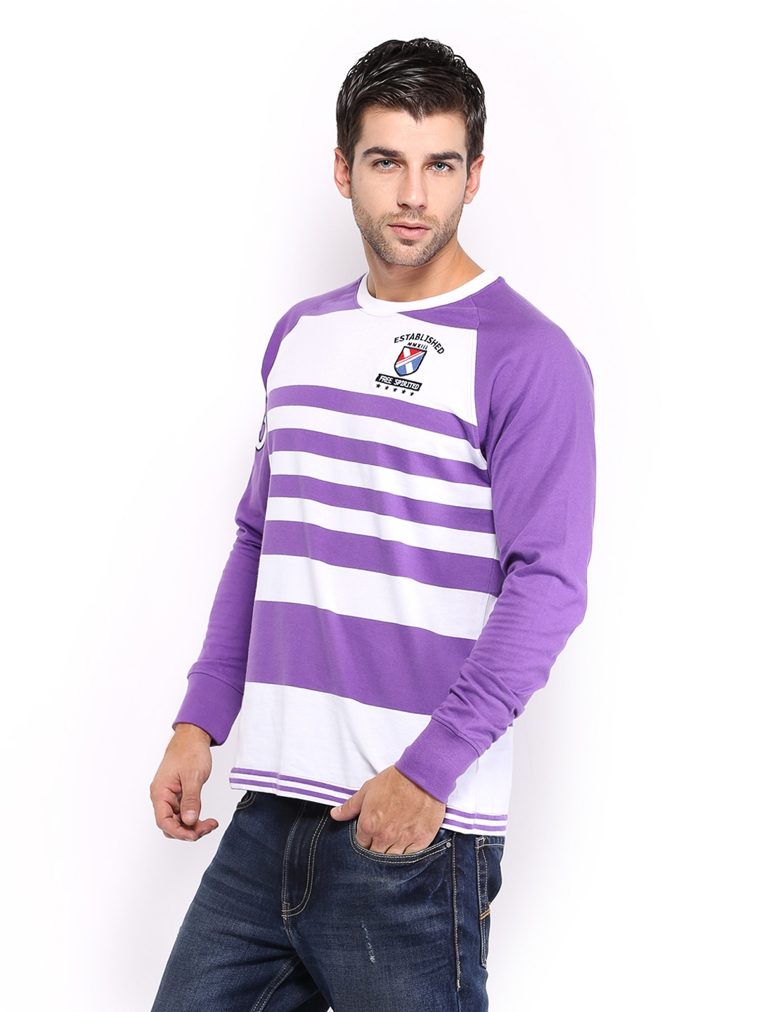 Myntra hrx men white purple striped slim fit t shirt for Purple and black striped t shirt