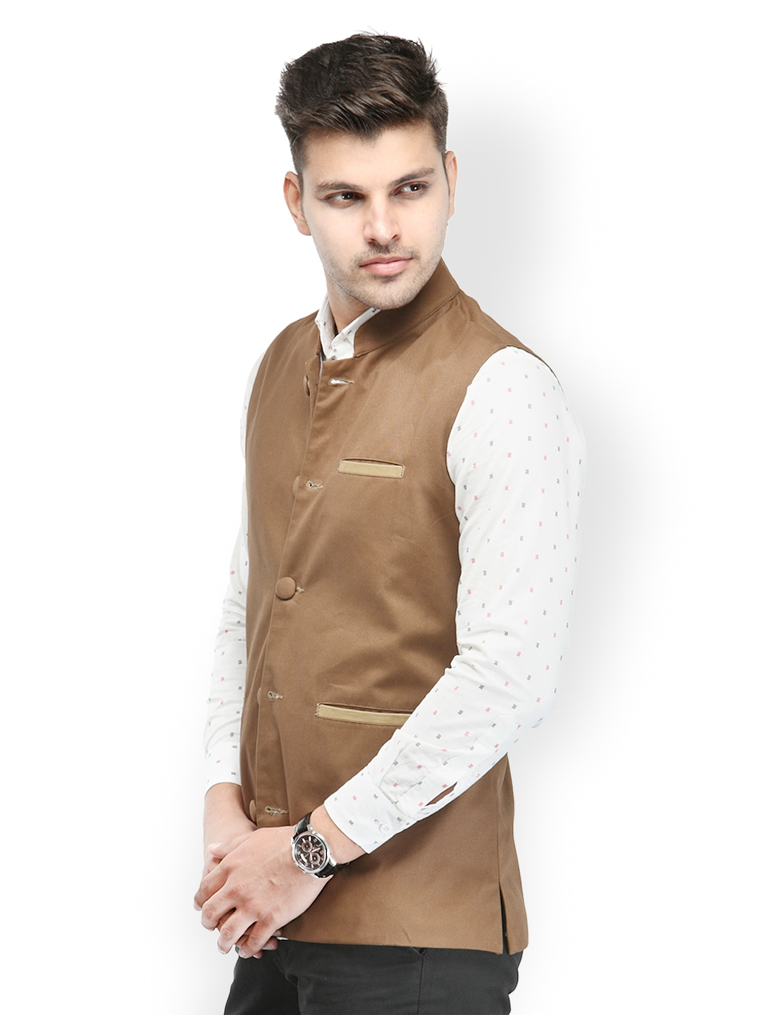 Myntra haute couture men brown nehru jacket 475800 buy for Haute couture male