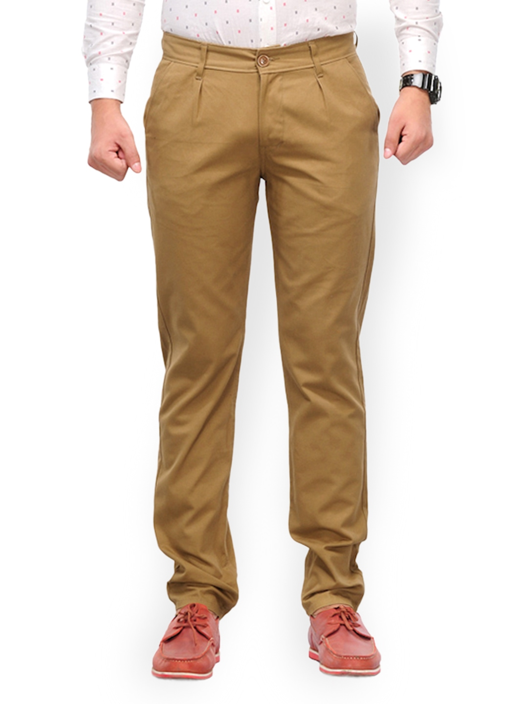 Myntra haute couture men coral red slim fit chino trousers for Haute couture men