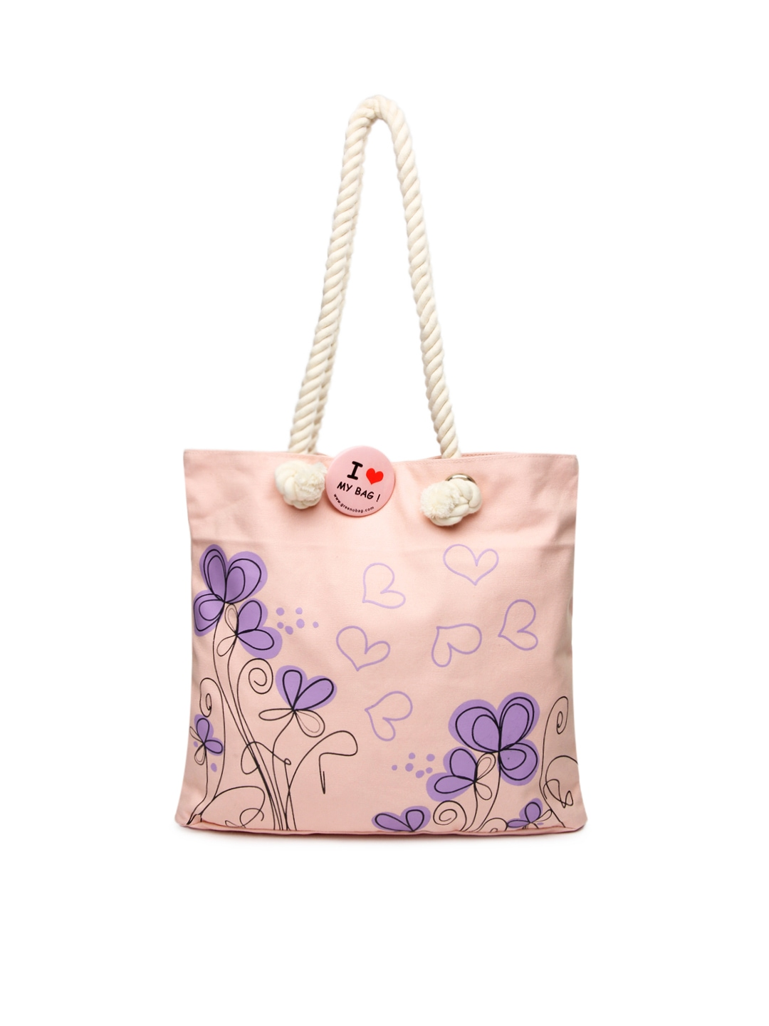 light pink printed tote bag 478332 buy myntra greenobag tote bags. Black Bedroom Furniture Sets. Home Design Ideas