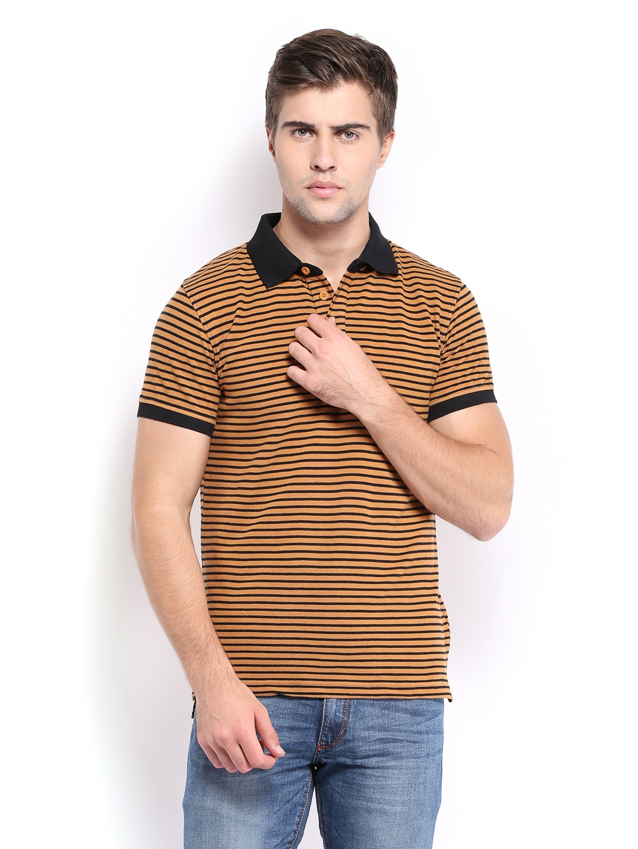 Myntra highlander men maroon henley t shirt 673783 buy for Light brown polo shirt
