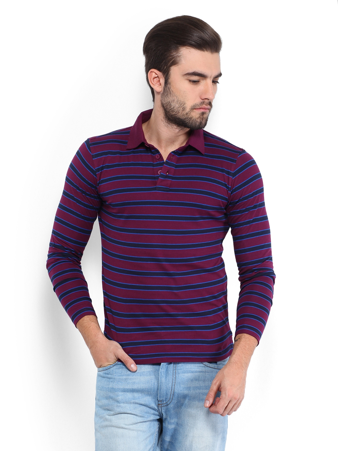 Myntra highlander men purple striped polo t shirt 489514 for Purple and black striped t shirt