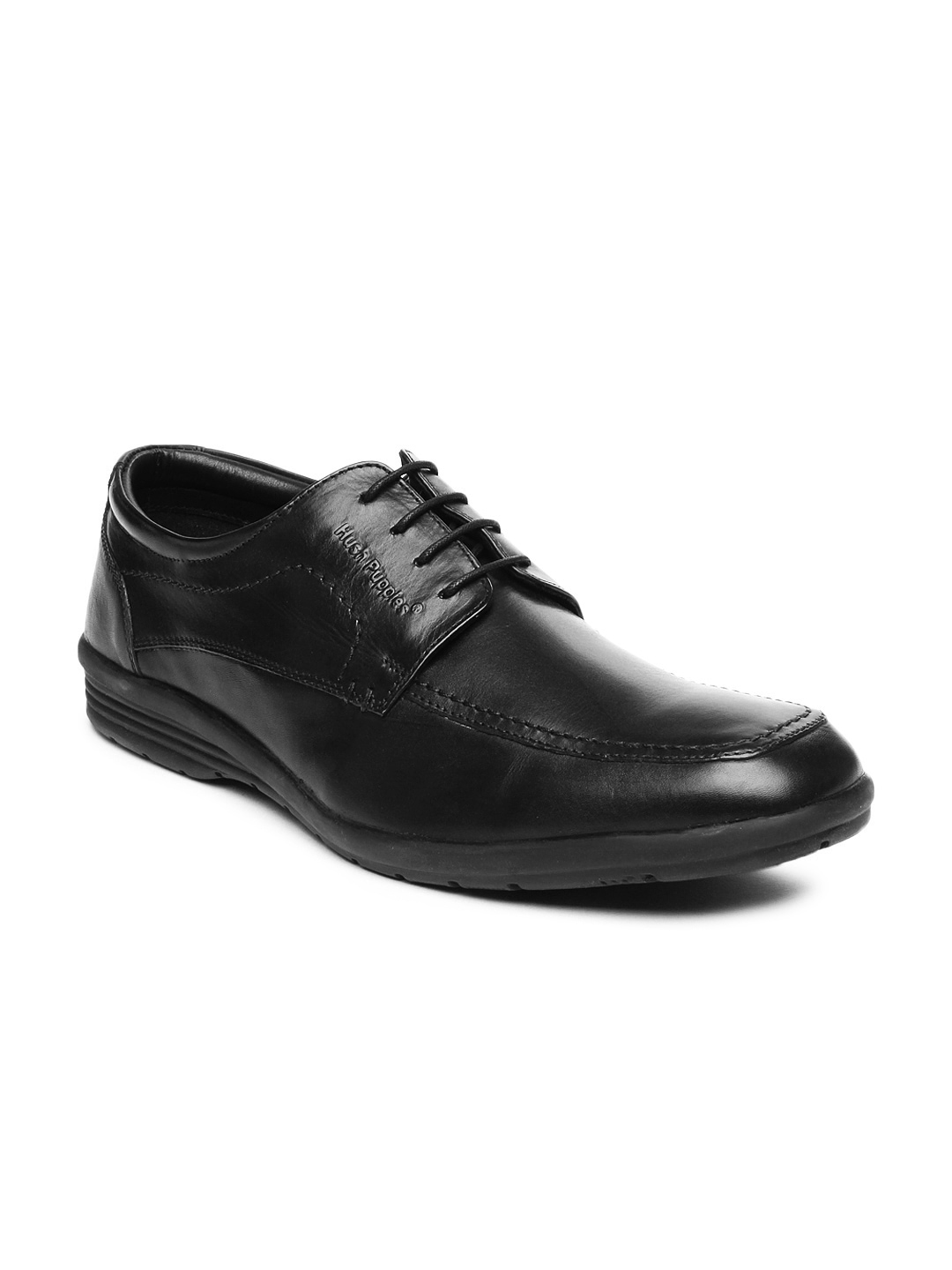 myntra hush puppies black leather semi formal shoes