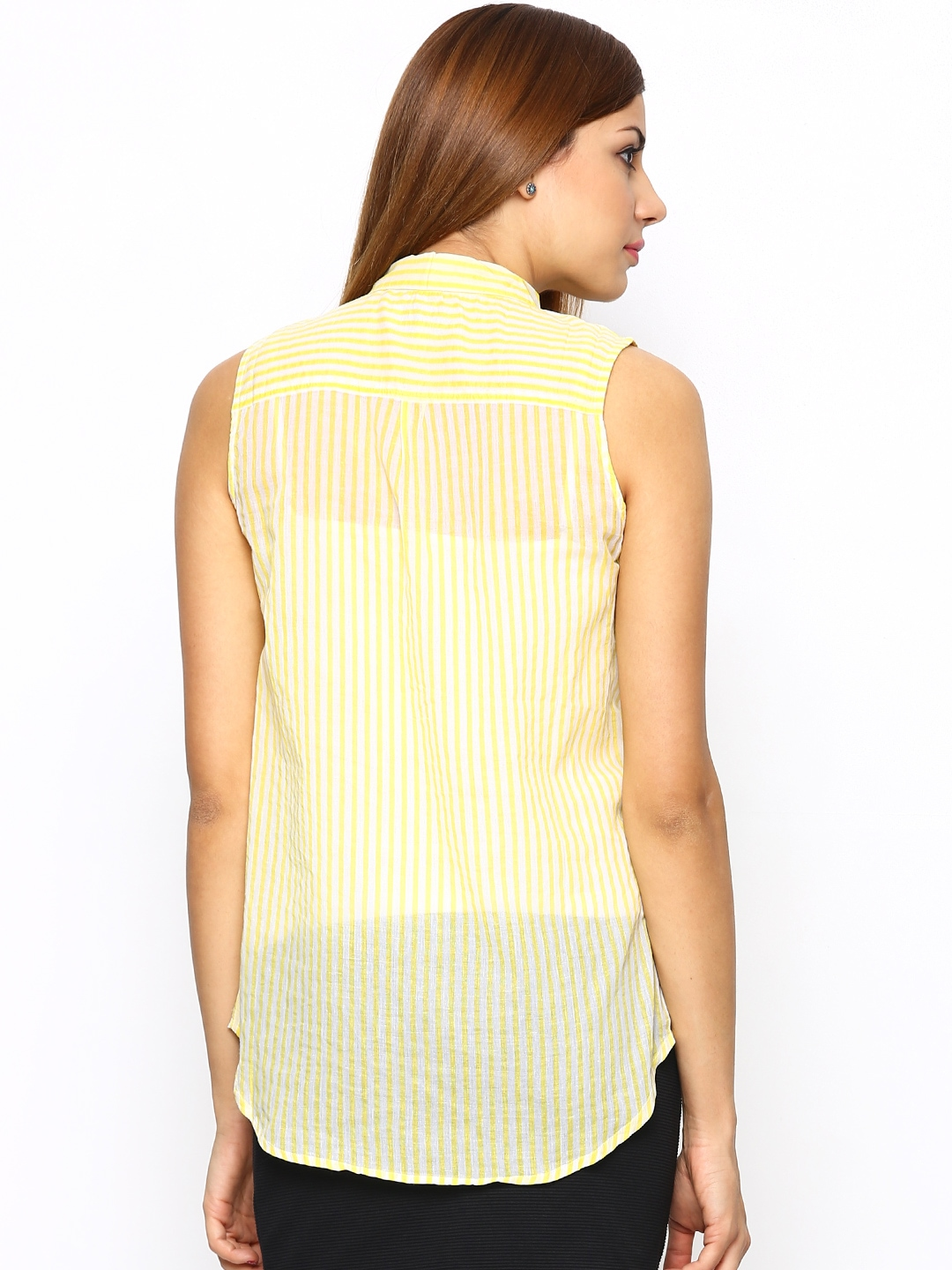 Myntra i am for you women yellow white striped shirt for Shirts online shopping lowest price