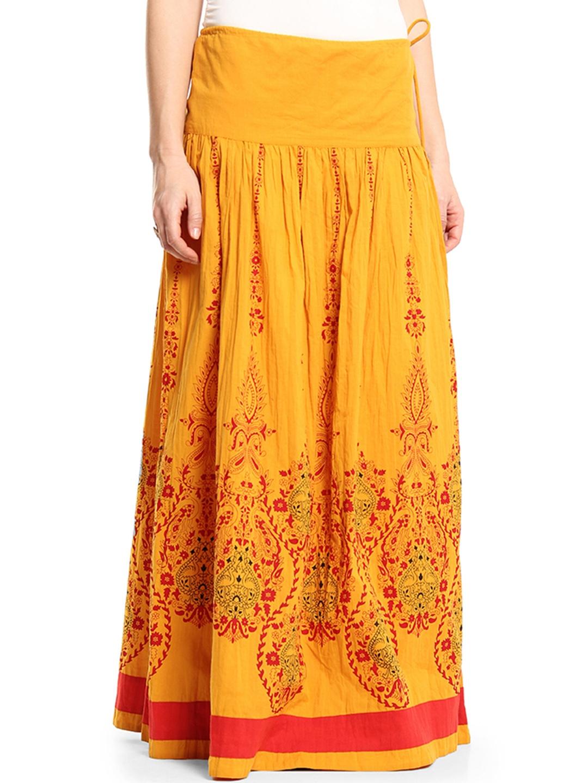 myntra shraddha kapoor by imara mustard yellow printed