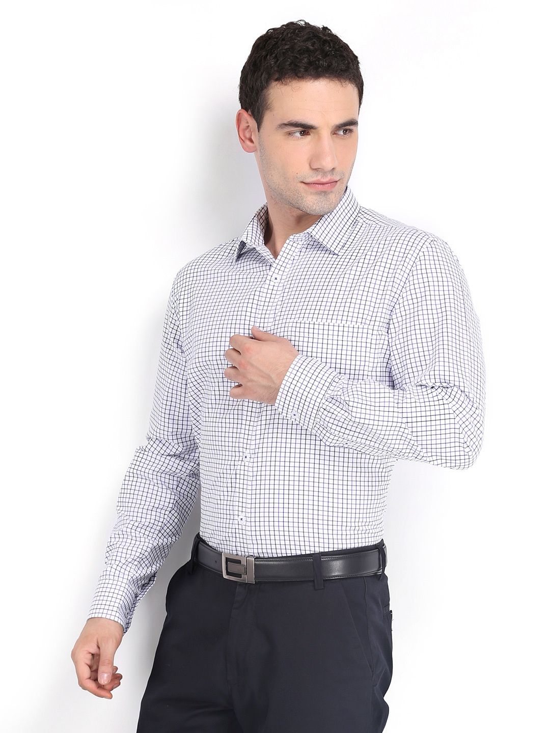 Myntra independence men white blue checked slim fit for Boys white formal shirt