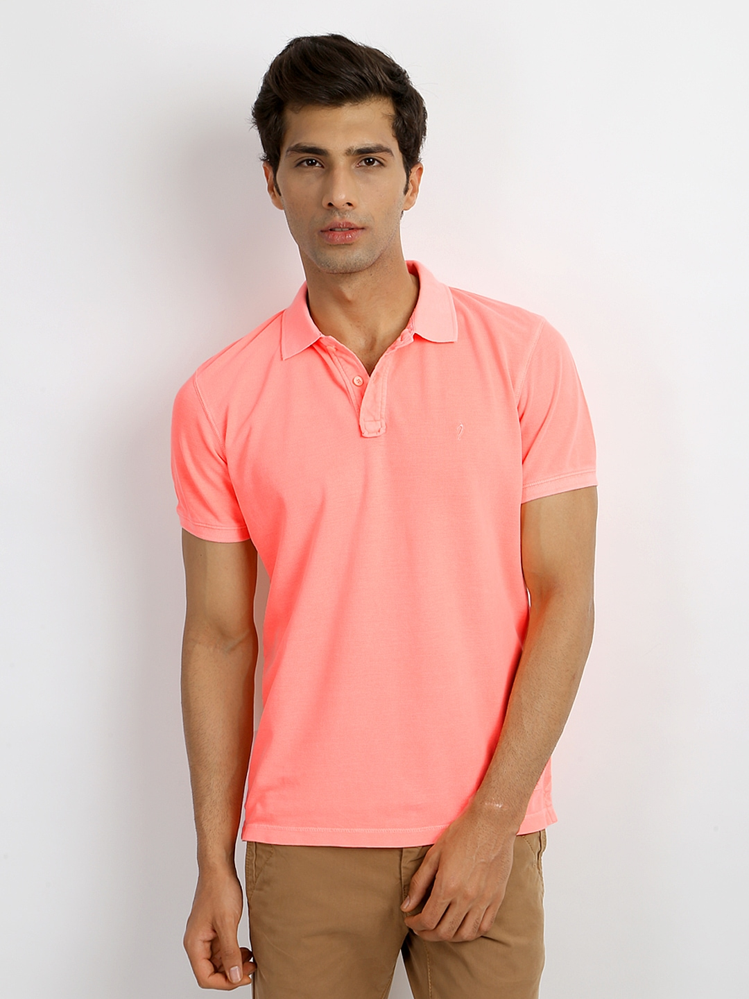 Buy Indian Terrain Men Fluorescent Peach Coloured Pique Polo T ...