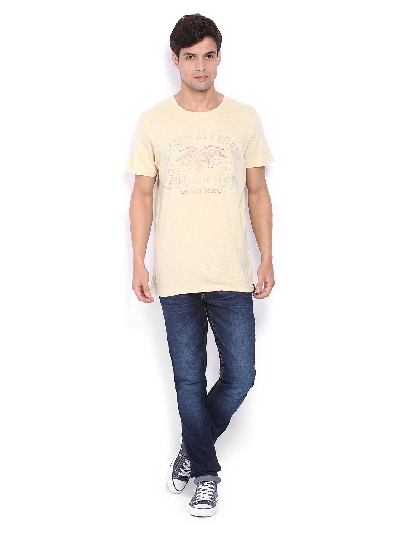 myntra jack jones men beige printed t shirt 351615 buy. Black Bedroom Furniture Sets. Home Design Ideas