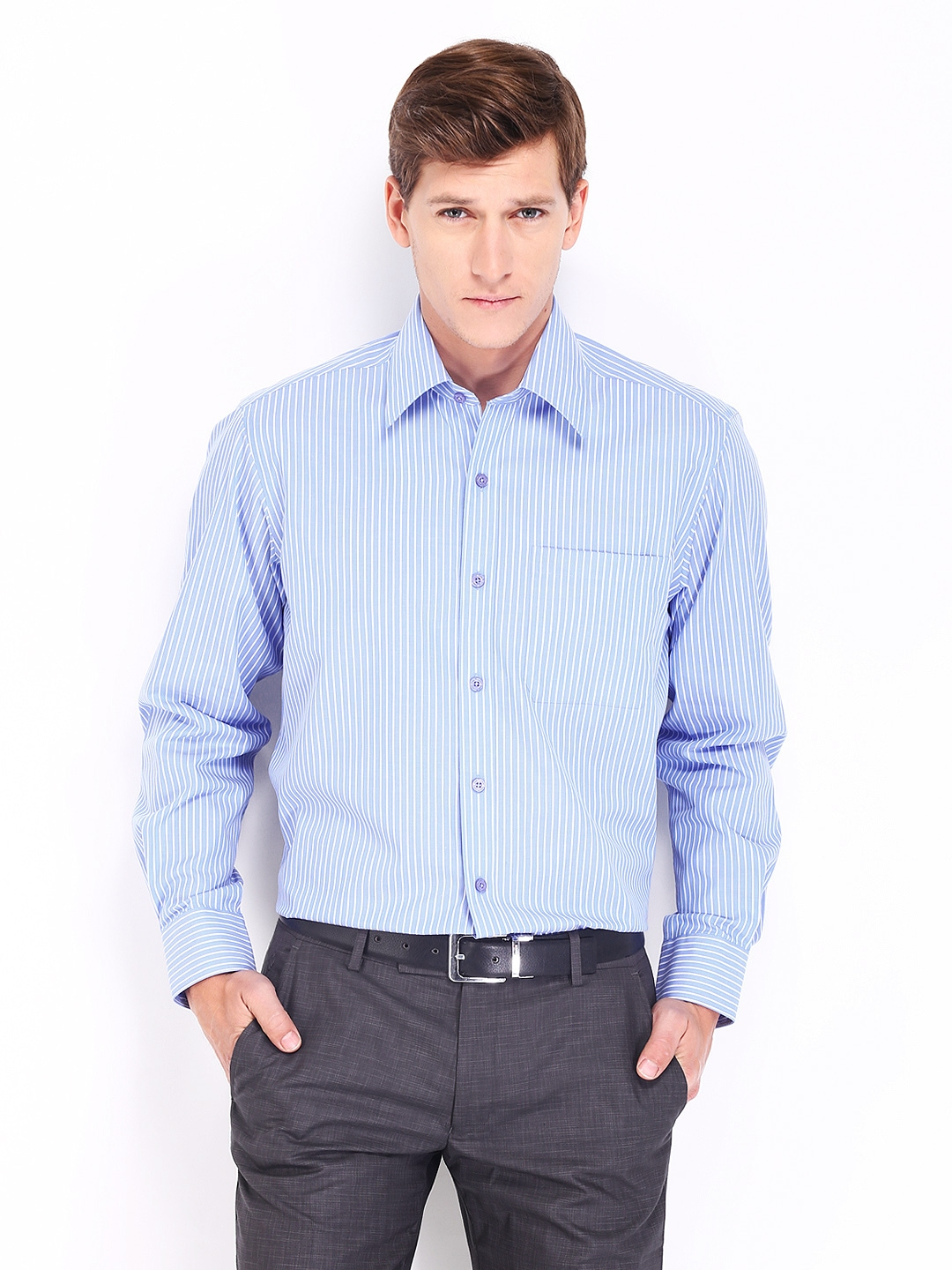 Best Wrinkle Free Dress Shirts Of Myntra John Players Men Blue White Striped Wrinkle Free