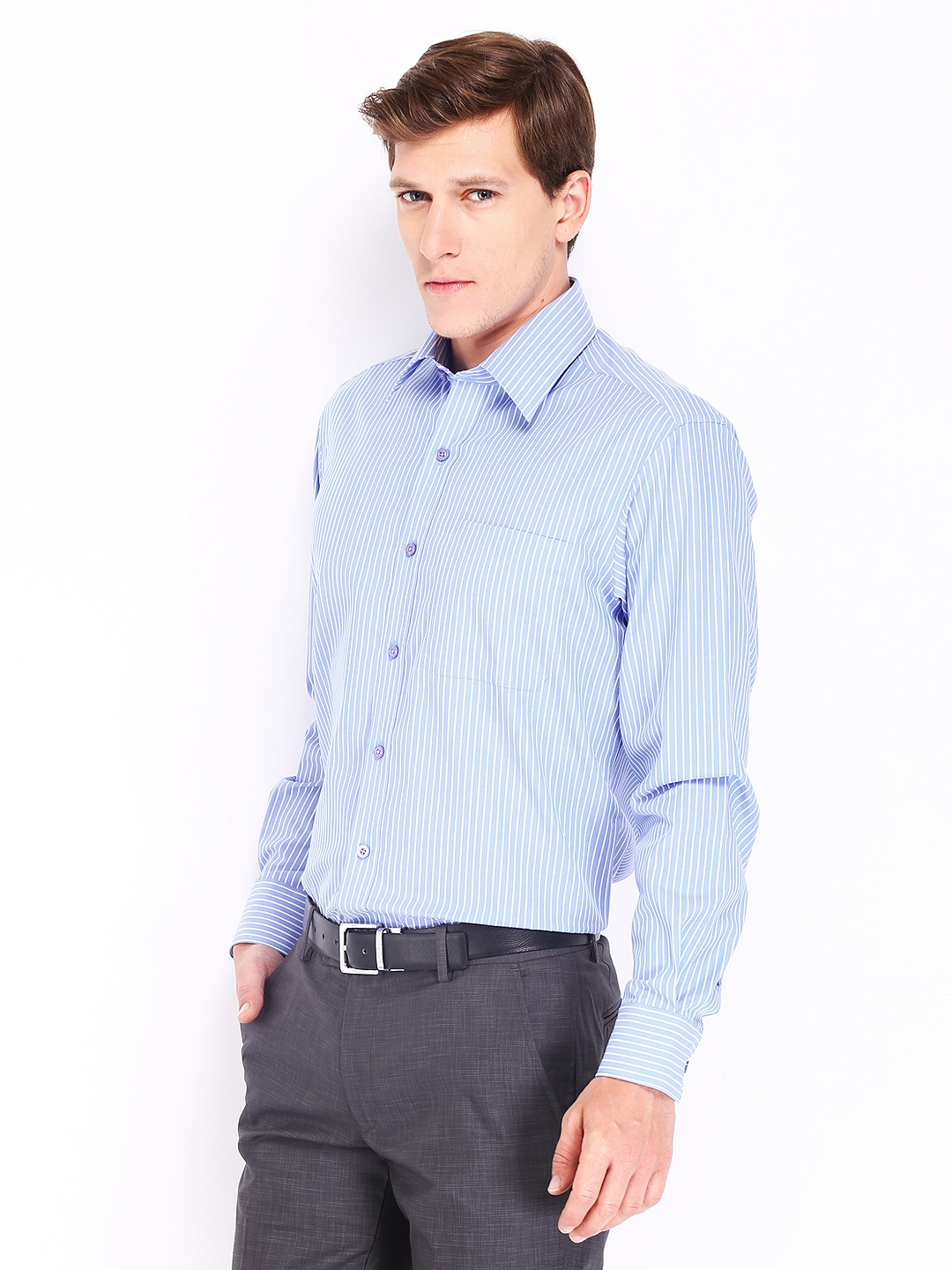 Myntra john players men blue white striped wrinkle free Best wrinkle free dress shirts