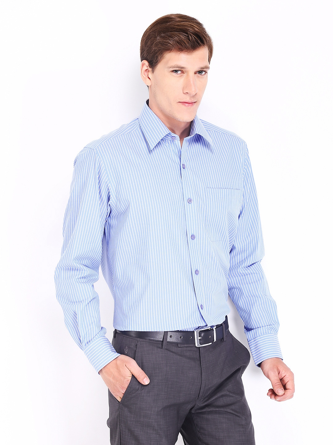 Myntra john players men blue white striped wrinkle free for Best wrinkle free shirts