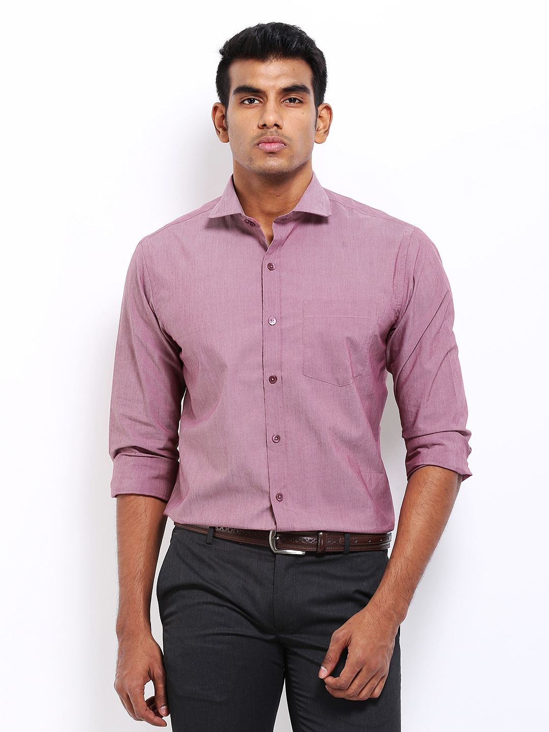 myntra john players men pink slim fit semi formal shirt
