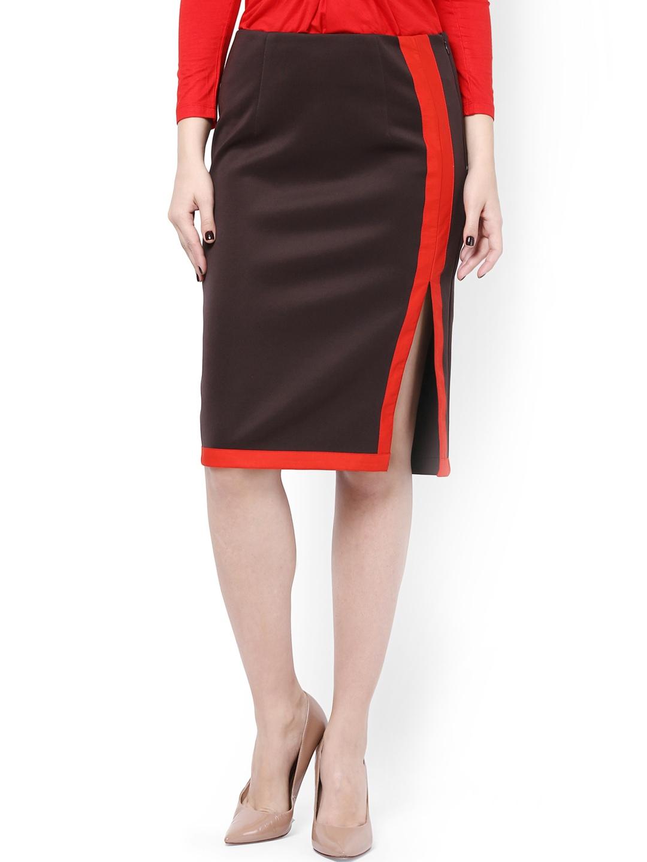 myntra kaaryah brown pencil skirt 775762 buy myntra
