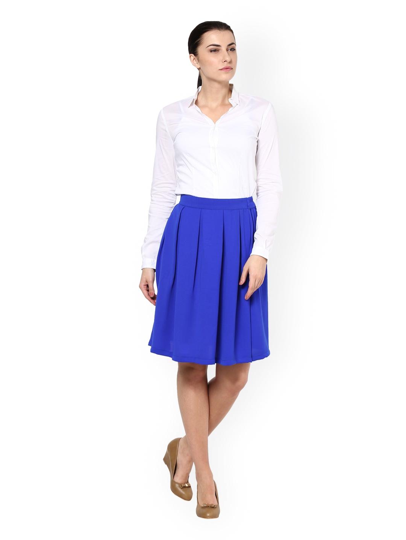 myntra kaaryah royal blue formal flared skirt 732687 buy
