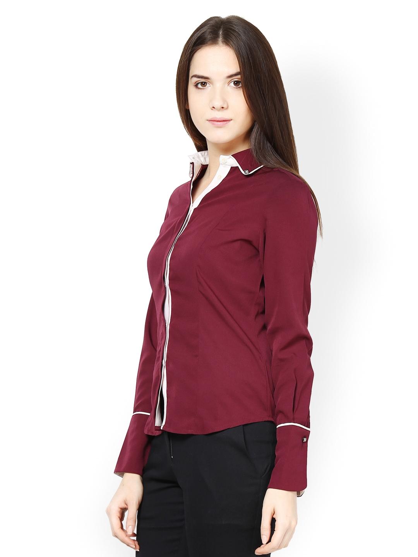 Myntra kaaryah women maroon formal shirt 546063 buy for Shirts online shopping lowest price