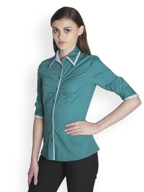 Myntra kaaryah women teal green formal shirt 415023 buy for Shirts online shopping lowest price