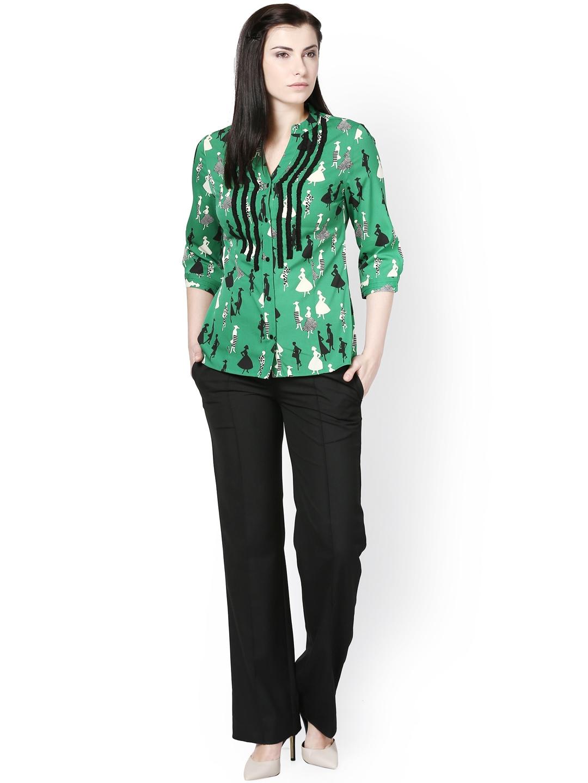 Myntra kaaryah women green black printed shirt 722786 for Shirts online shopping lowest price