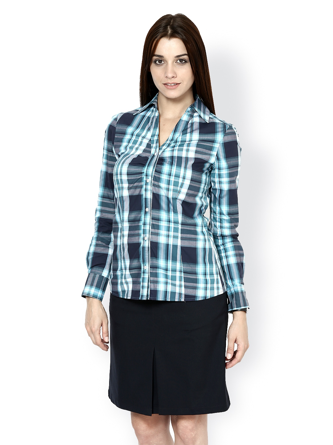 Myntra kaaryah women blue checked smart casual shirt for Shirts online shopping lowest price