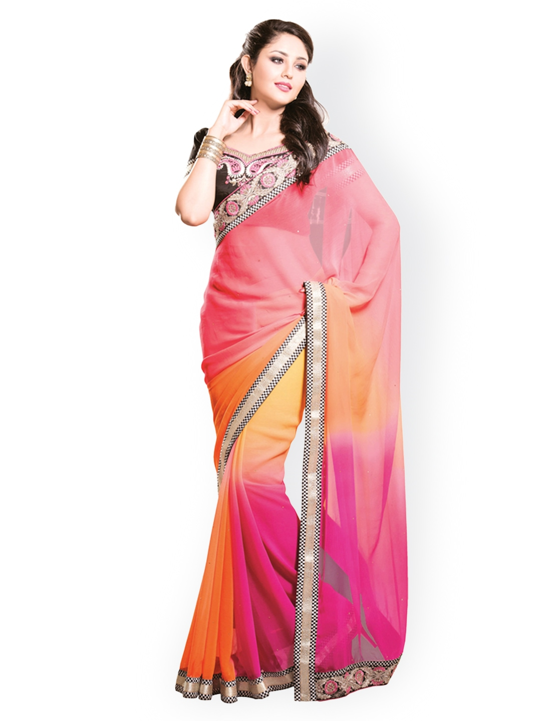Myntra Kashish Lifestyle Pink Orange Georgette Fashion Saree 813982 Buy Myntra Kashish