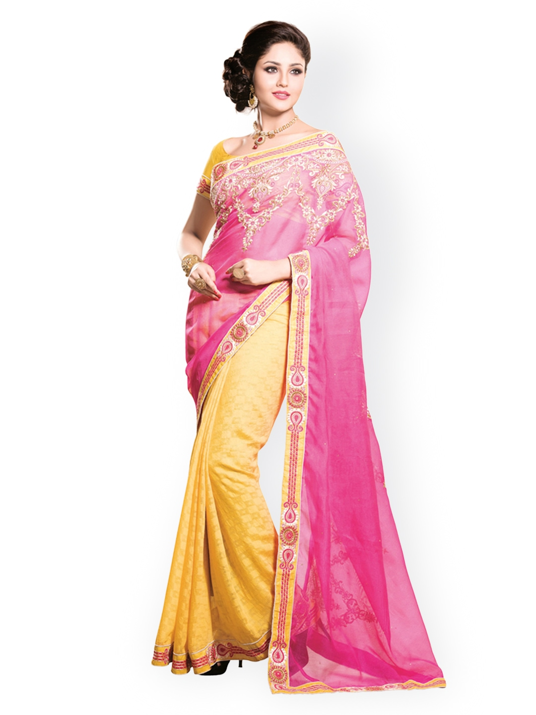Myntra Kashish Lifestyle Pink Yellow Embroidered Georgette Fashion Saree 813979 Buy Myntra