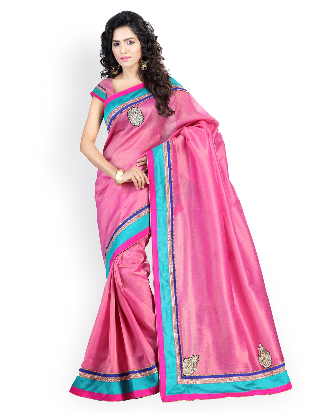 Myntra Kashish Lifestyle Pink Embroidered Jute Fashion Saree 793742 Buy Myntra Kashish