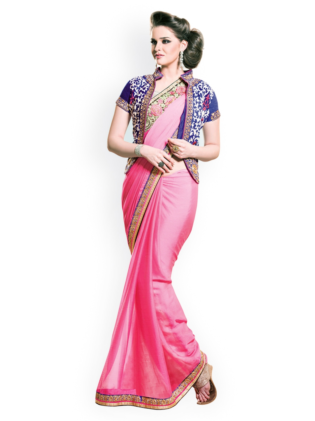 Myntra Kashish Lifestyle Pink Georgette Fashion Saree 813983 Buy Myntra Kashish Lifestyle