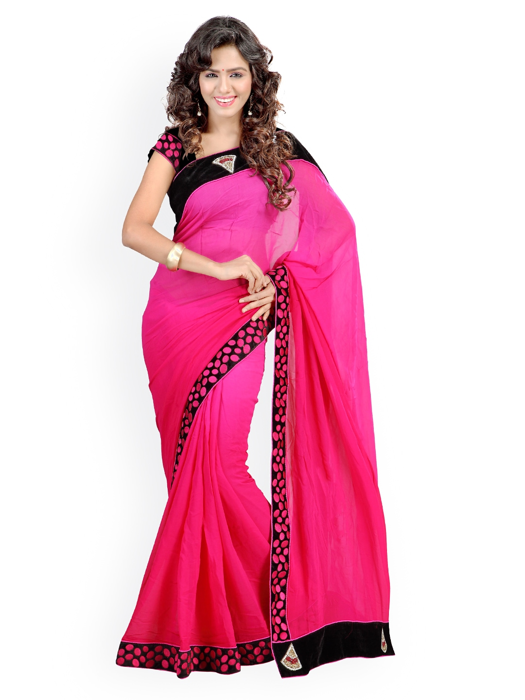 Myntra Kashish Lifestyle Pink Georgette Fashion Saree 793721 Buy Myntra Kashish Lifestyle