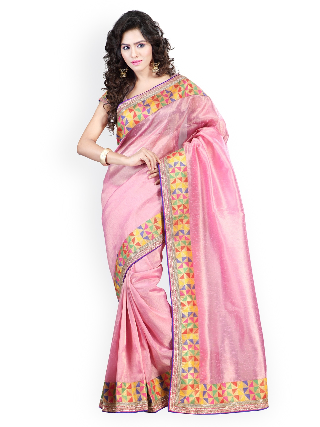 Myntra Kashish Lifestyle Pink Jute Fashion Saree 793739 Buy Myntra Kashish Lifestyle Fashion