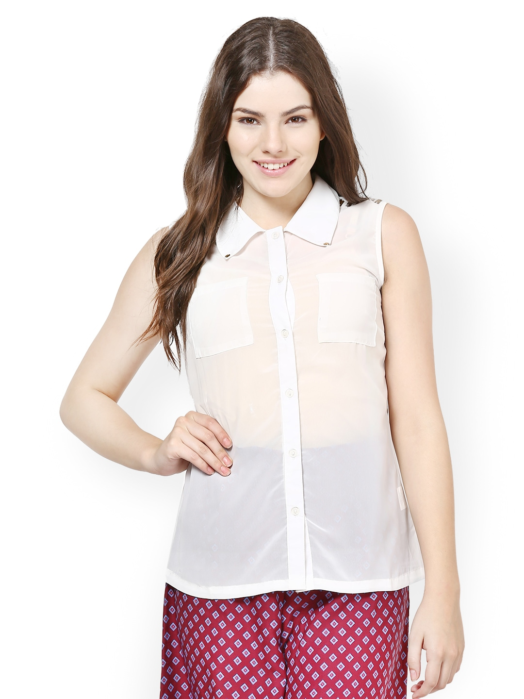 Myntra kaxiaa women white casual shirt 435477 buy myntra for Shirts online shopping lowest price